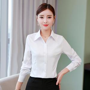 白衬衫女长袖2019春秋新款韩版职业装工装修身显瘦工作服打底衬衫