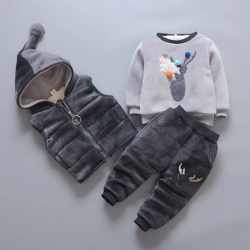 [] every day special offer plus velvet suit 3 girls winter sweater thickening 1-4 years 2 three sets of warm clothes