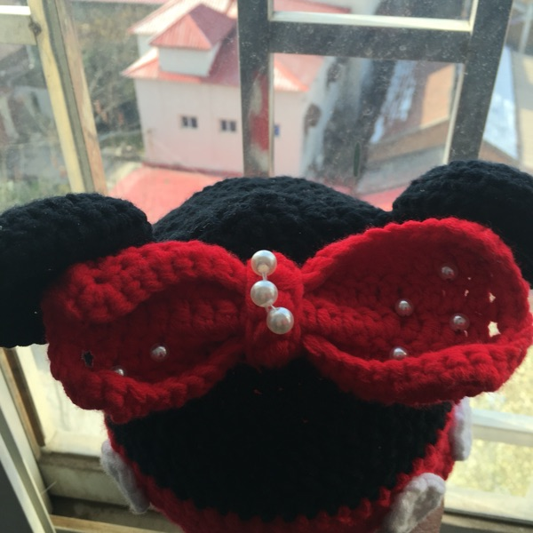 Pure manual more winter to keep warm Milk cotton children's lovely Mickey bowknot hat