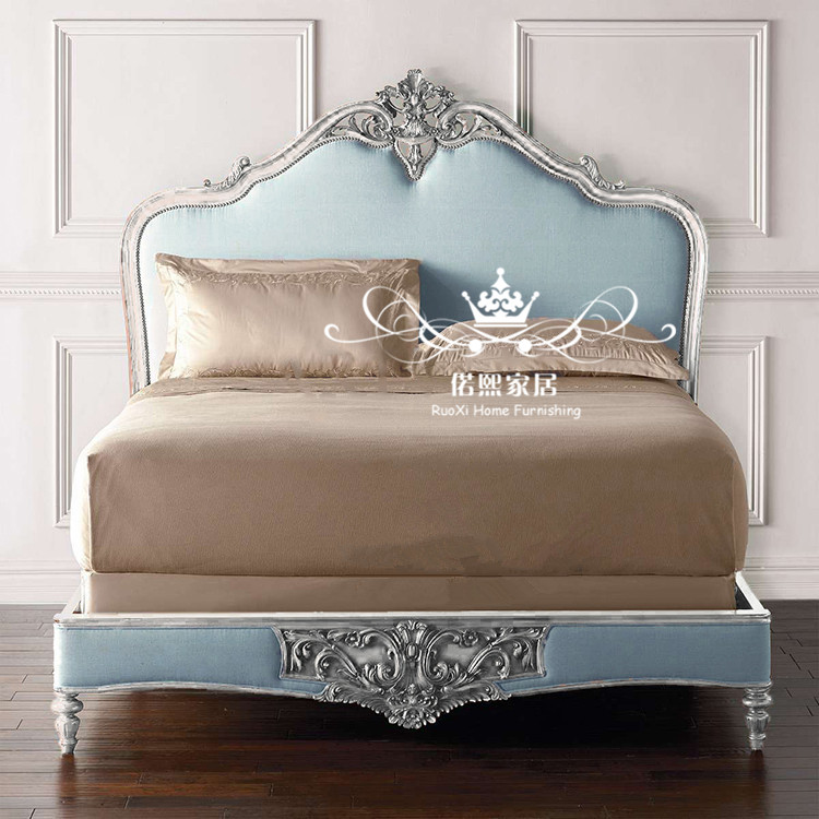 The French neo classical soft bed carved princess bed American solid wood carved wood 1.8 meters double bed Jane