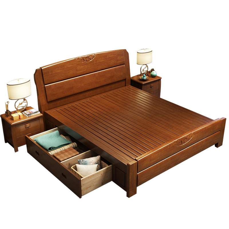 Solid wood bed 1.8 meters large-sized apartment economy children bed single bed double bed boy adult storage bed
