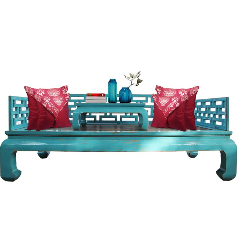 木飾尚新中国式家具材の羅漢寝込んだ古い楡アンティーク家具チェア古典彩漆ソファベッド