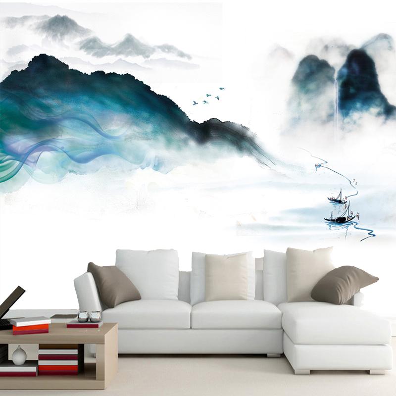 無縫歐式加厚無紡布(性價比高)新中式壁畫3d水墨山水風景壁紙客廳大氣沙發背景墻民族風墻紙墻布