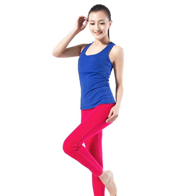 依琦蓮ヨガウェアスーツ女修身春夏新型スポーツジム服ベストタイツスーツ帯パッド