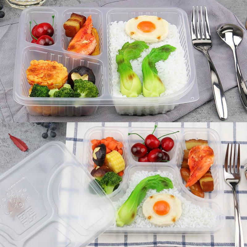 en rektangulär låda av plast lådor snabbmat lunch låda med tjockare.