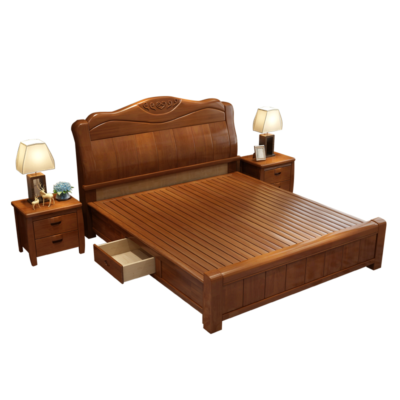 Solid wood bed 1.8 meters double master bedroom modern minimalist 1.5 meters high economic rubber wooden storage box marriage bed