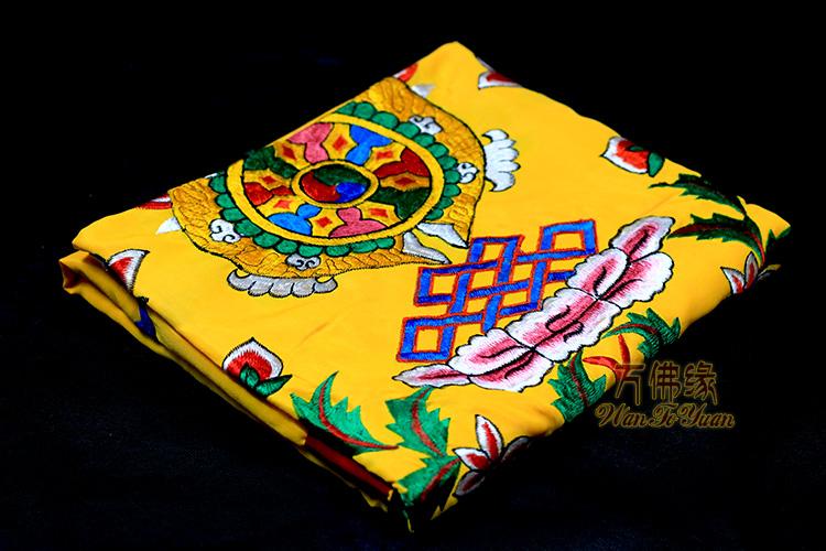 nepalin ja tiibetin kangas käsin kirjailtu kahdeksan lupaava, jossa on kuusi sanaa puuvillakankaalla yhden.