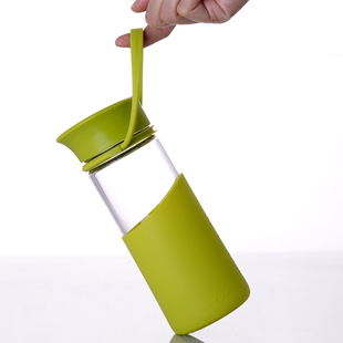 MIGO水杯玻璃杯子享悦便携无铅防漏水瓶带盖过滤创意猫爪随手茶杯