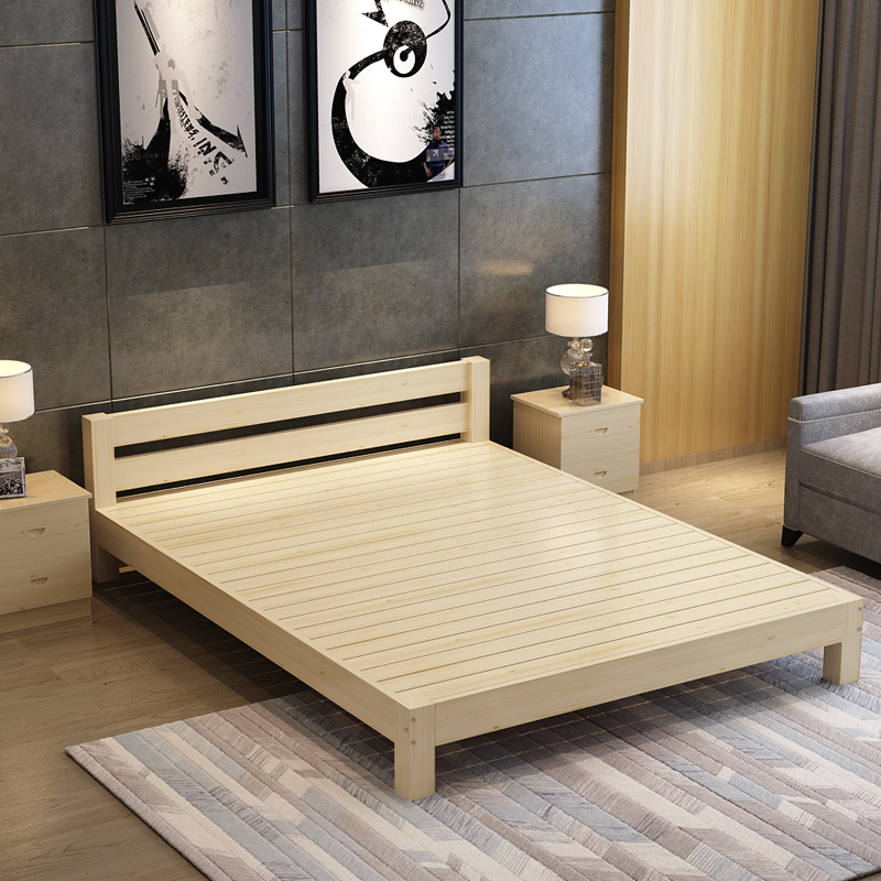 Modern minimalist pine wood bed sheets 1.8 tatami bed simple double bed 1.5 dormitory rental housing