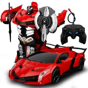 一键感应变形遥控汽车金刚兰博基尼赛车充电动机器人儿童玩具男孩
