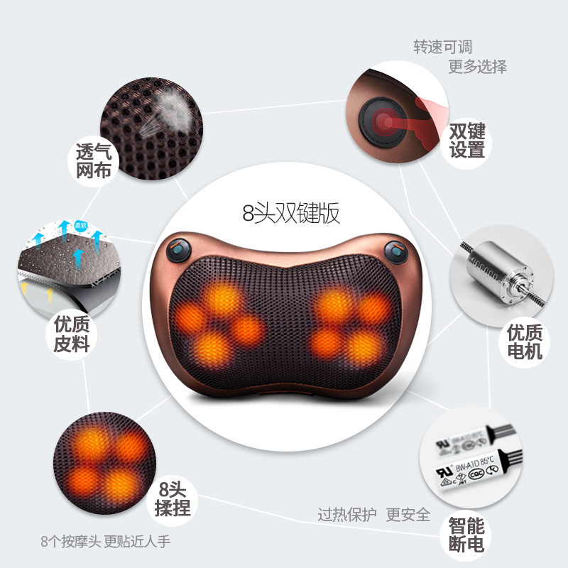 Dispositif de massage du dos du col Cervical polyvalent de la taille du corps de véhicule électrique domestique de coussin coussin de massage