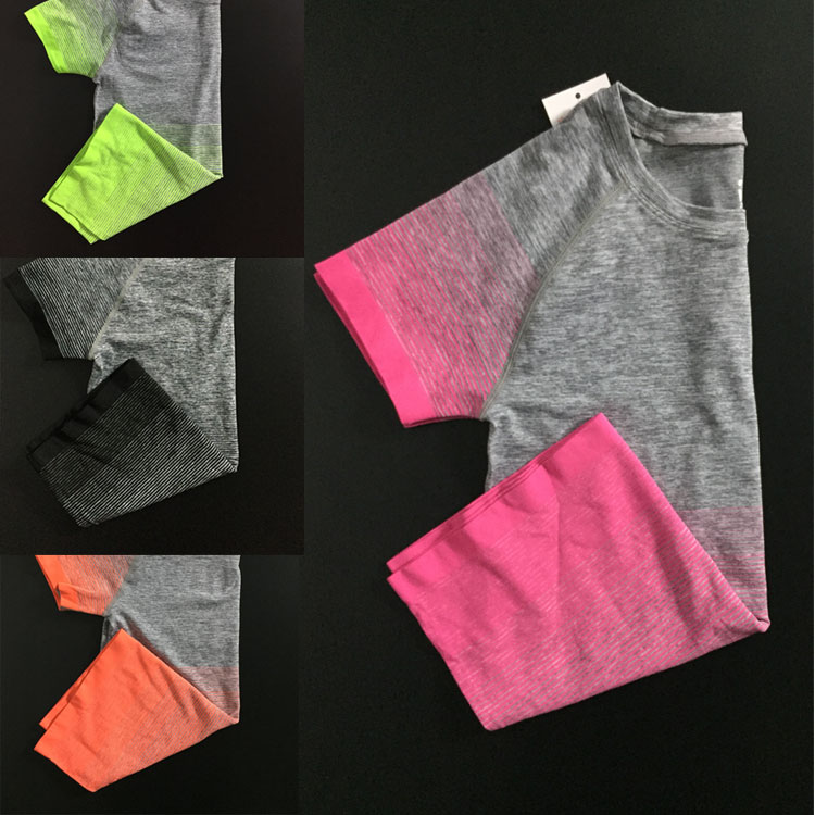 16 new style gradual change female yoga clothes, quick drying T-shirt, running training, fitness women's blouse, short sleeve