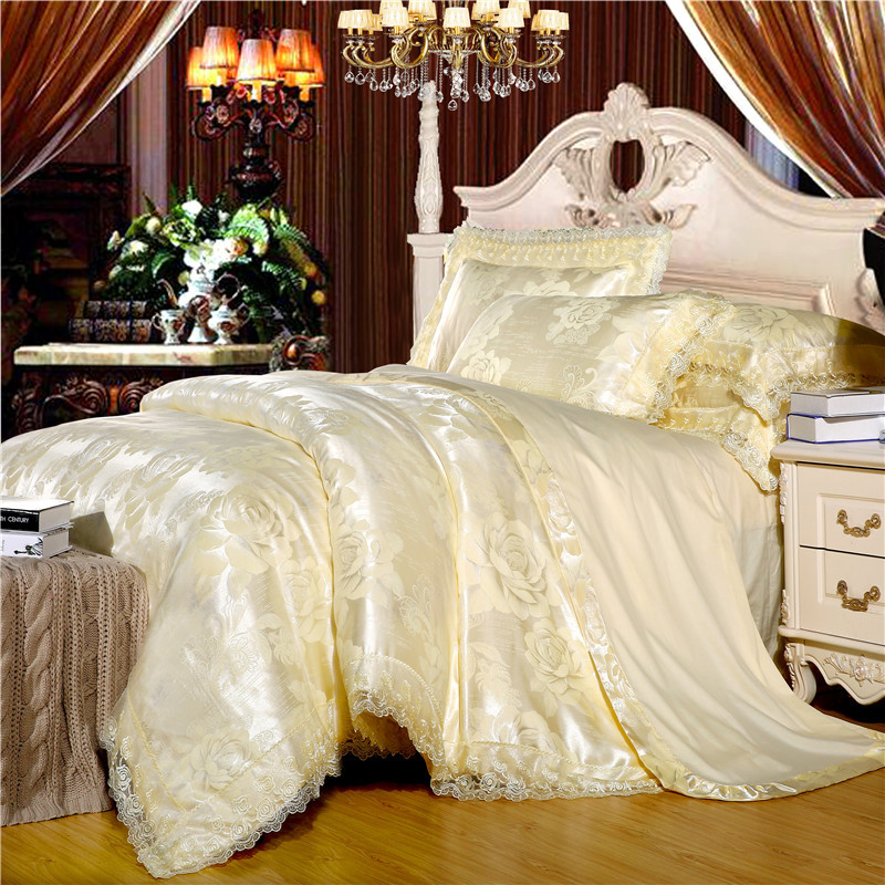 Artículos de algodón manga de algodón puro de Europa la cama plana de Jacquard doble tencel satén por 4 conjuntos de cuatro personas en la cama