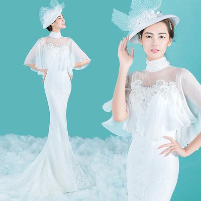 2017年主题婚纱摄影服装拍照裙白纱轻纱个性写真礼服影楼情侣装