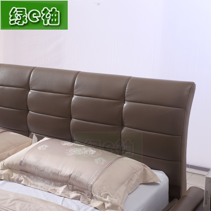 New leather bed, Nordic furniture, fashionable double skin bed, 1.8 meters, 1.5 meters, small apartment, master bedroom, wedding bed delivery