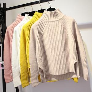 2018秋冬新款高领套头短款显瘦毛衣宽松纯色长袖针织衫打底