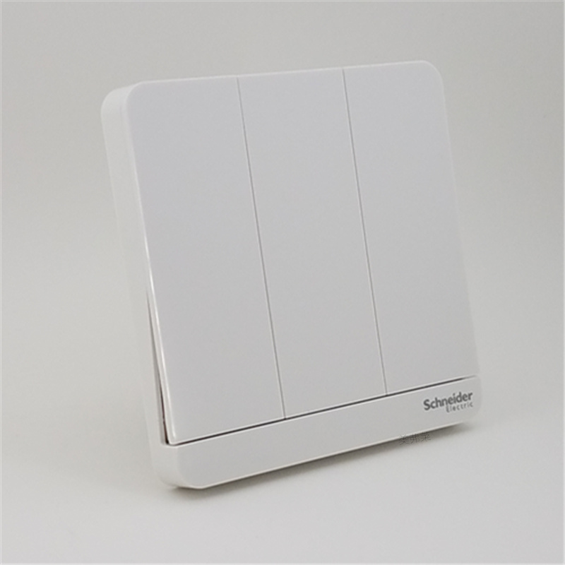 Schneider switch socket three triple self reset contact bounce switch panel Yi still mirror porcelain white 4A250V