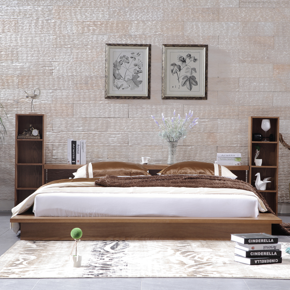 Solid wood bed style 1.51.8 tatami bed double Japanese modern minimalist home three pack