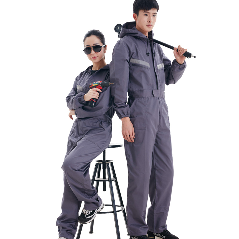 Hooded long sleeve overalls, men's long sleeve labor protective clothing, spray painting, dustproof and antifouling clothing, large size auto protective clothing