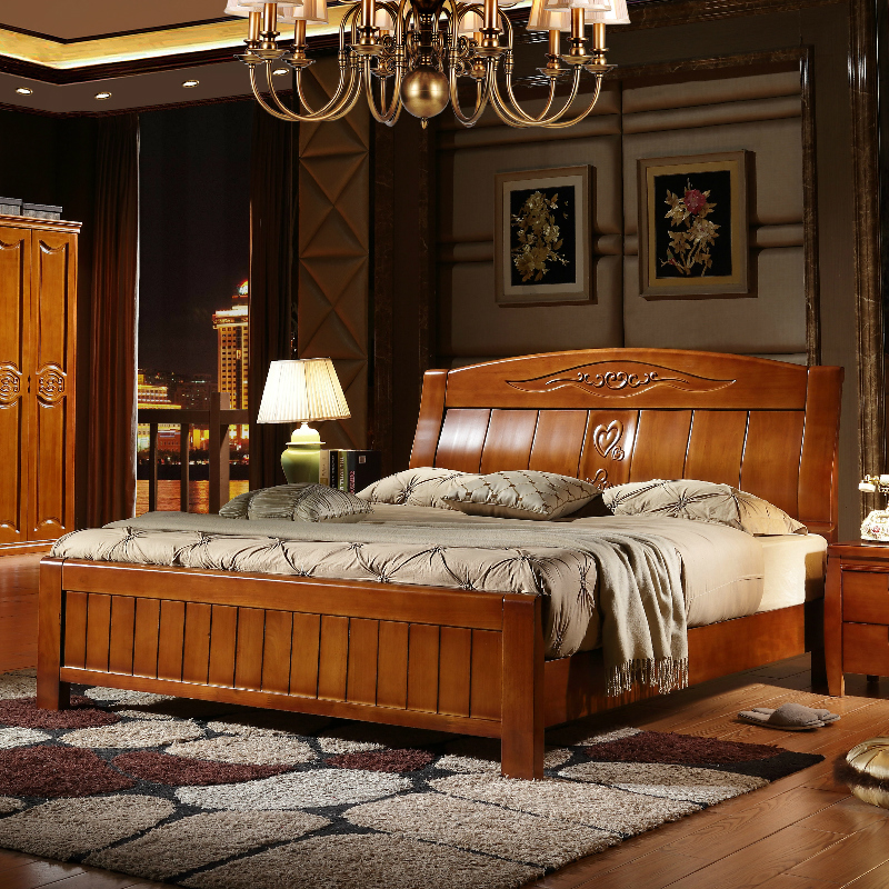 Solid wood bed storage, pneumatic high box bed 1.81.5 meters, modern minimalist Chinese oak double bed furniture