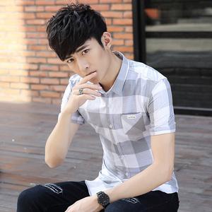 男士格子衬衫夏季薄款纯棉韩版寸衫青年休闲潮流男装短袖衬衣