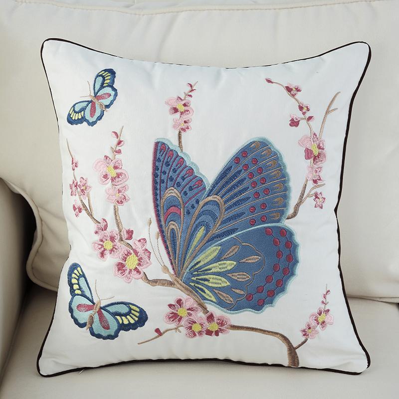 アメリカン綿高級刺繍枕大クッション刺繍イケアクッションソファベッドバッグ北欧で腰枕