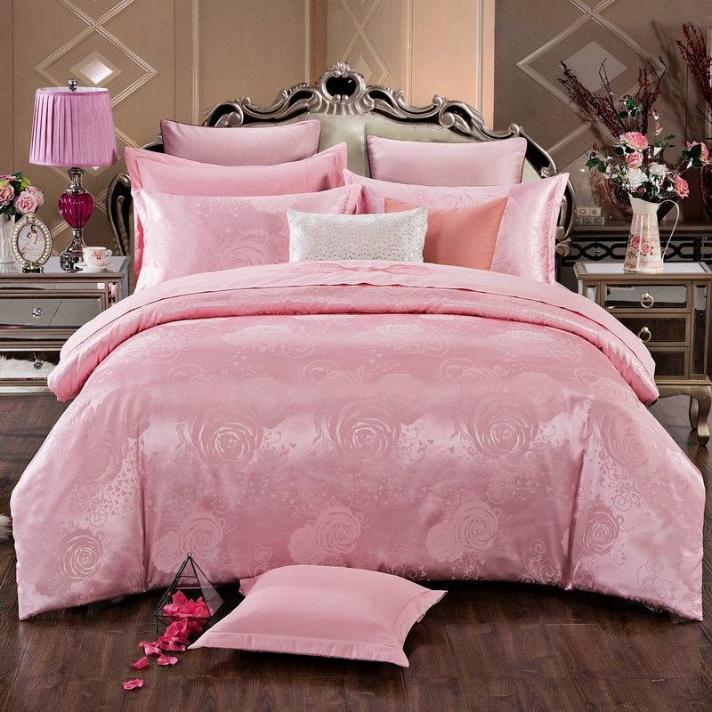 Cotton sheets four piece Cotton wedding Bed Suite rose red satin and silk jacquard quilt European style