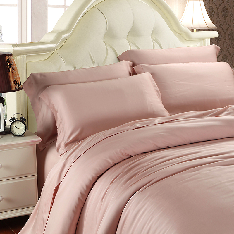 Spring and Summer Hotel simple naked silky super soft sided Tencel four piece pure Tencel fitted bed sheets