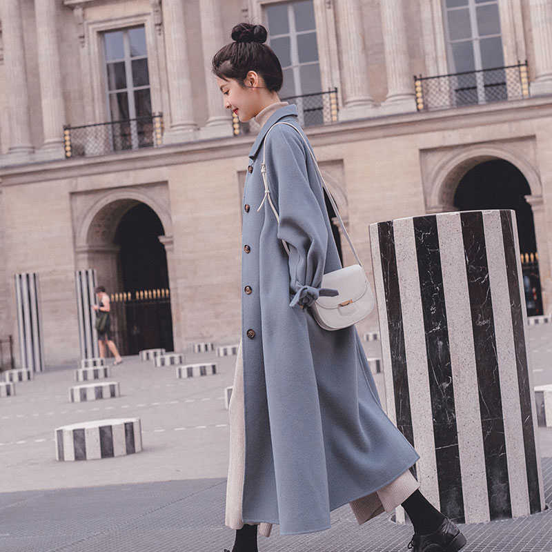 purchasing             French purchasing maje wuyu woolen coat female autumn and winter new style Hepburn style loose fashion mid-length coat