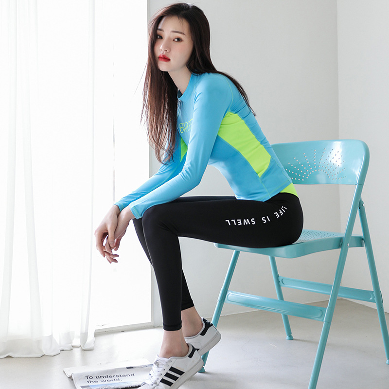 South Korean gym professional yoga clothing, running suit, women's tight speed dry exercise, clothing fitness equipment