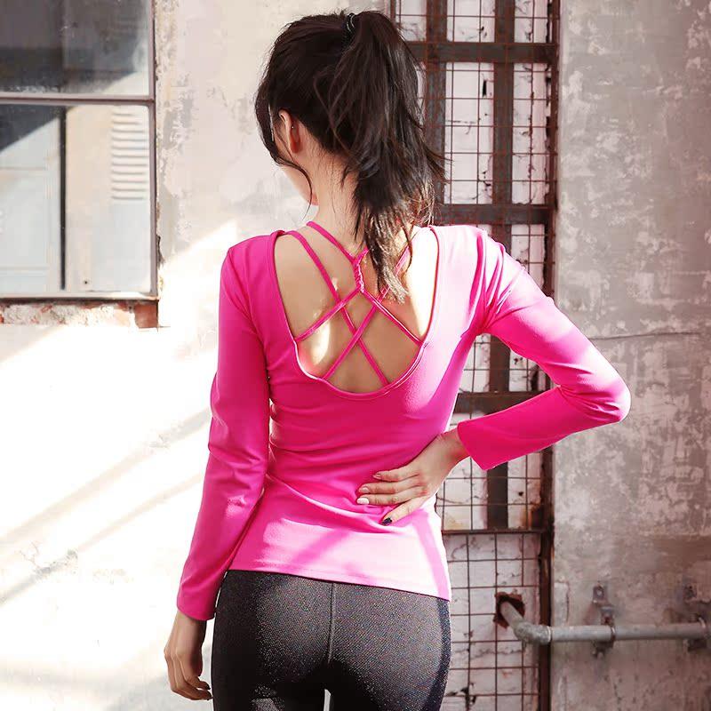帯ヌーブラ運動ヨガ女長袖上着速乾Tシャツのセクシーな美背フィットネス衣タイト訓練ランニング服