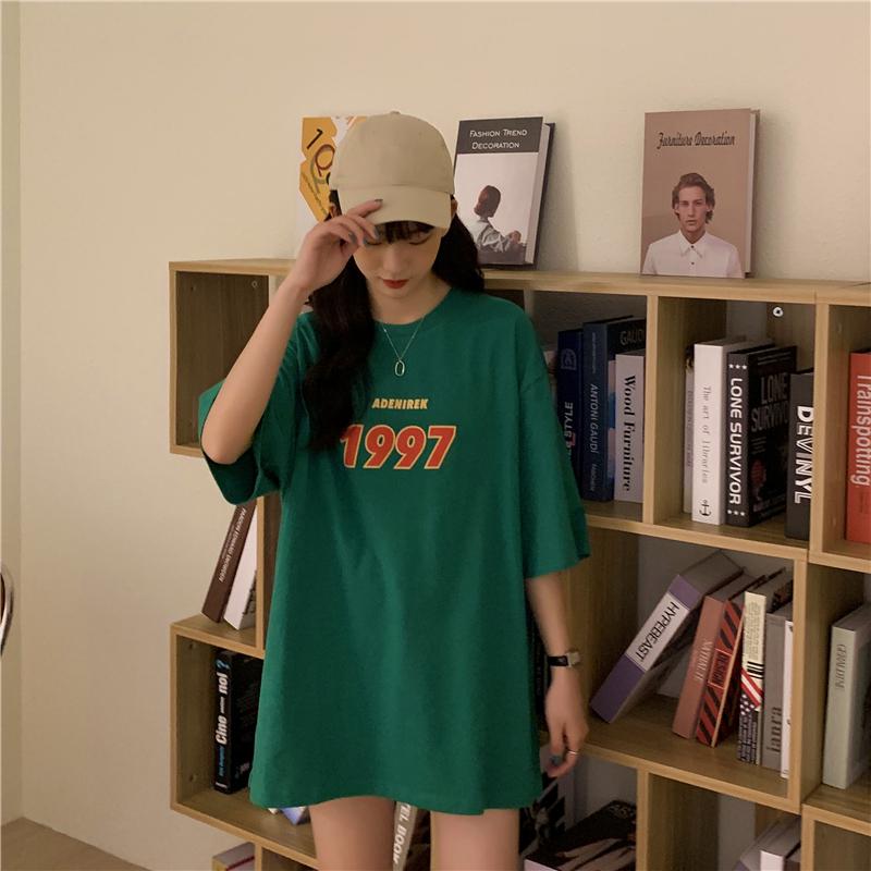 实拍 夏装新款中长款宽松印花字母原宿风ins短袖T恤女