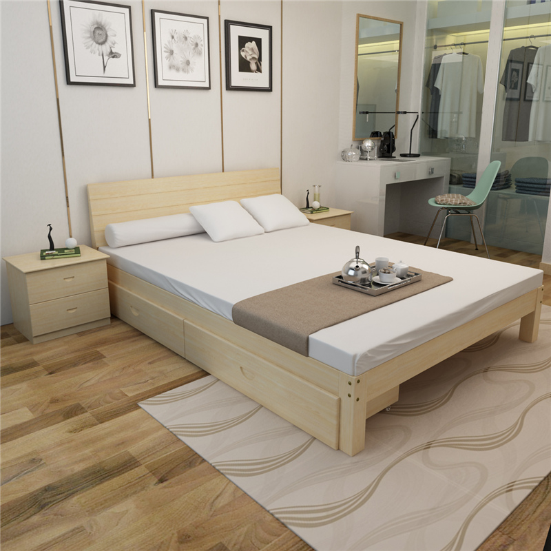 Free installation of solid wood bedstead 1.5 double bed 1.8 pine single bed adult log modern simple package installation