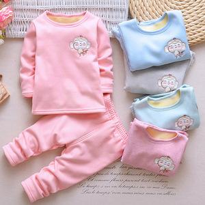 宝宝加绒保暖内衣套装1-2-3岁半男女儿童睡衣婴儿衣服一体绒秋冬