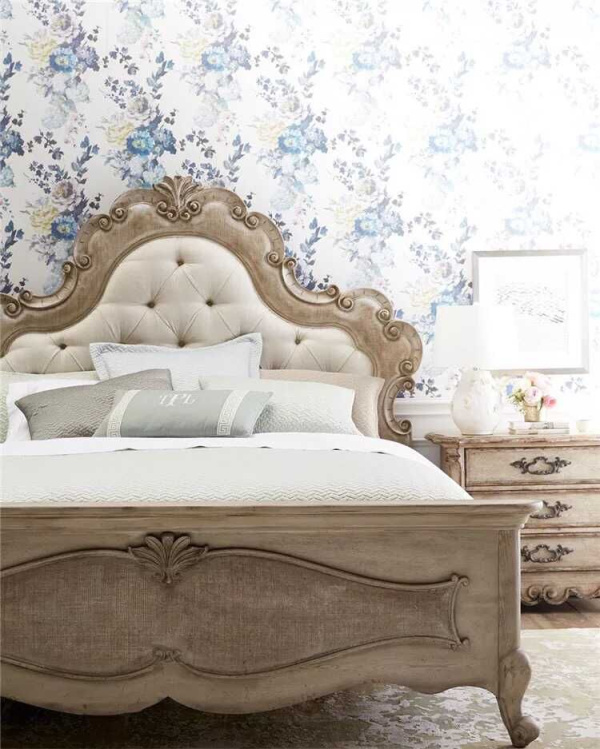 Carved wood double bed retro French neo classical furniture simple European wedding bed oak bed bedroom soft bed