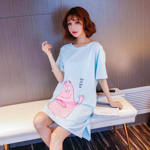 女士夏季純棉睡裙短袖卡通可愛韓版時尚外穿睡裙