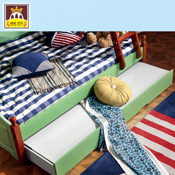 American country bed out of bed, Mediterranean double bed boy / girl 1.35 children up and down package