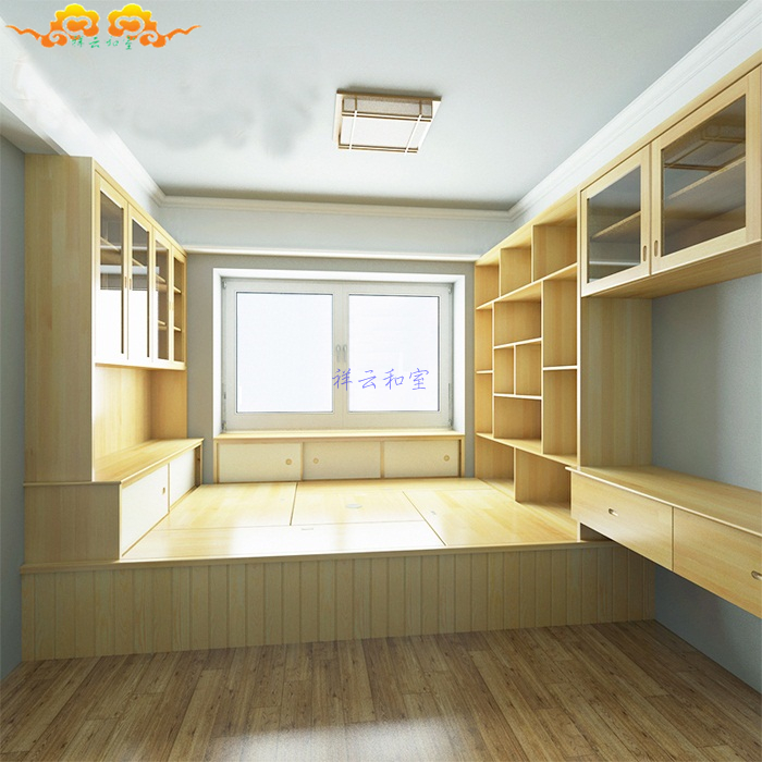 Shanghai City bedroom floor bed couch Japanese tatami wood wardrobe custom meters overall furniture factory custom