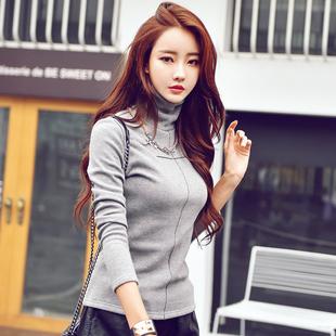 冬季加绒打底衫女高领加厚保暖棉质外穿纯色长袖十字修身显瘦T恤