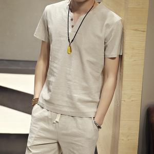 夏季薄款中国风棉麻T恤男宽松复古亚麻两件套休闲V领短袖短裤套装