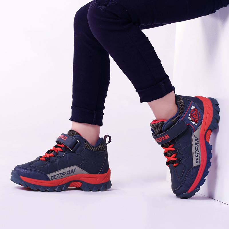 冬季儿童冲锋鞋加绒户外登山鞋防滑11耐磨运动鞋7旅游鞋8男童鞋子