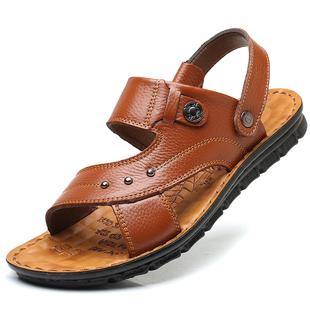 凉鞋男真皮夏季户外两用沙滩鞋男按摩防滑软底车缝线中老年凉拖鞋