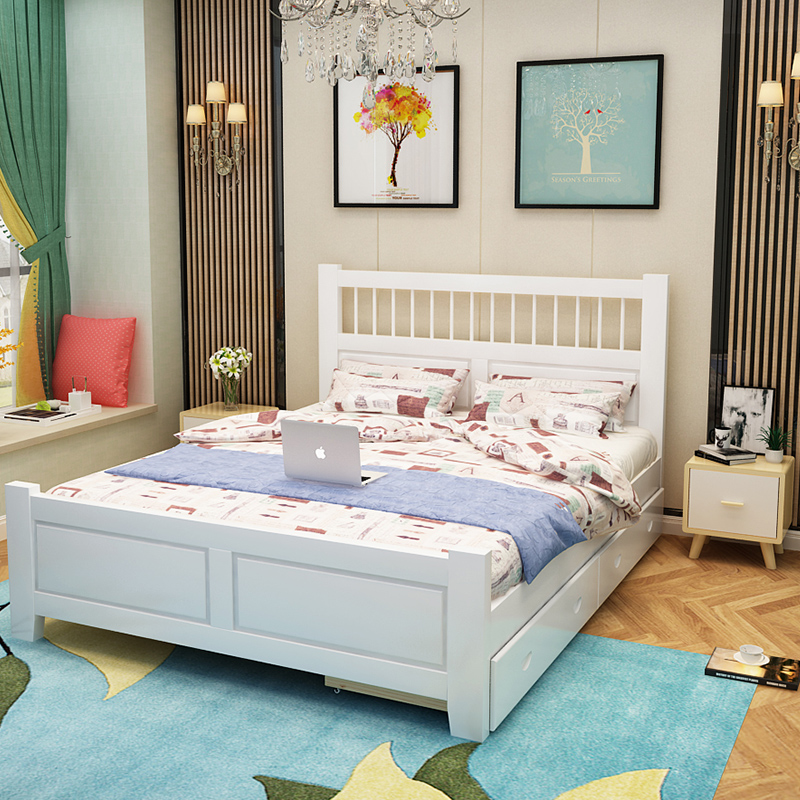 Single bed adult bedroom with solid wood bed, 1.8 meters furniture set double bed
