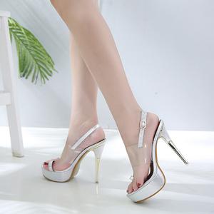 一字扣凉鞋女细跟2018夏季新款高跟罗马鞋高跟女鞋1535长期有货