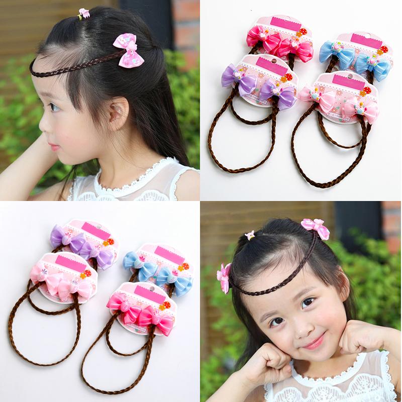 女童公主链额头链儿童假发造型发夹头饰蝴蝶结辫子小女孩发卡发饰