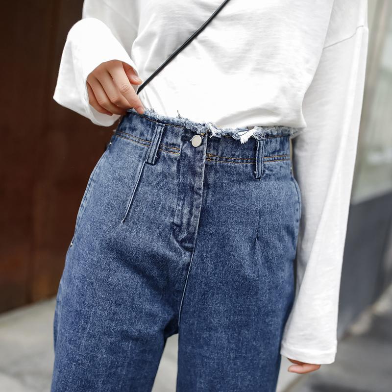 JHXC fashionable waist loose burrs Wide Leg Jeans Girl autumn Korean skinny pants nine micro flares
