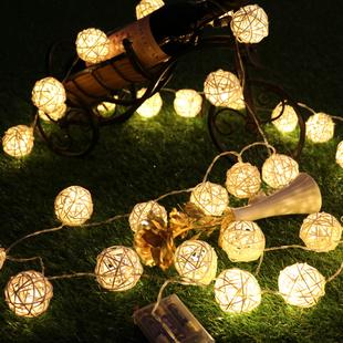 泰国藤球彩灯闪灯串灯藤编装饰灯房间布置宿舍LED小星星节日藤灯