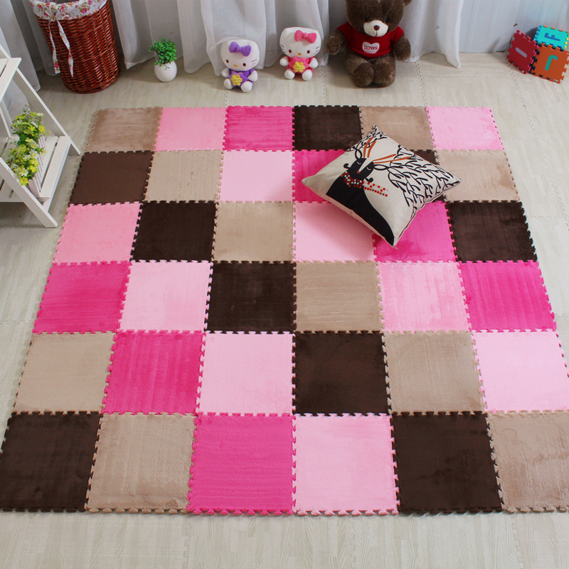 Home living room bedroom carpet mosaic crawling pad covered with tatami bed children bubble plush suede carpet