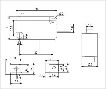 Fabricante: Micro interruptor interruptor interruptor de limite de contatos de Cobre ZW7-0A 6A