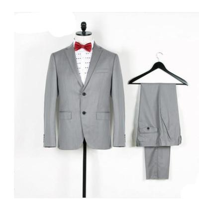 44.8%羊毛 吊牌价2980元 两粒扣灰色 PB男式商务休闲西装西服套装原单